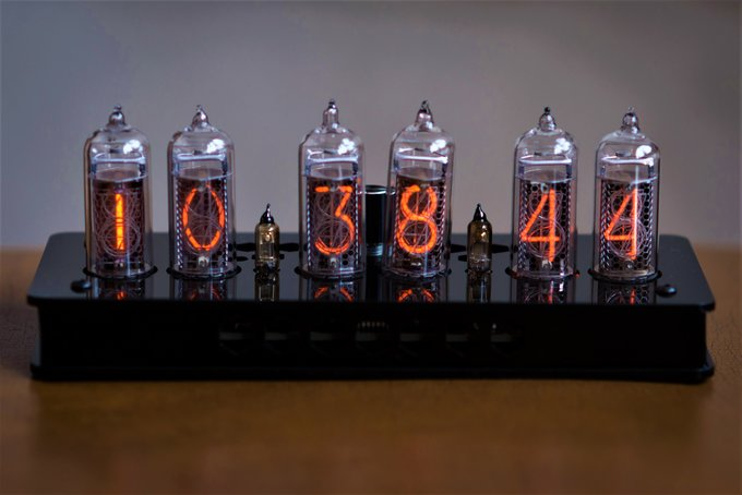 Nixie clock in plastic enclosure.