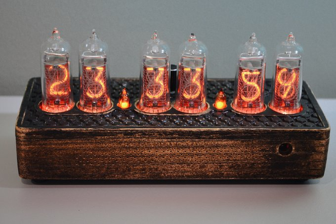 Nixie clock in exclusive wooden enclosure.