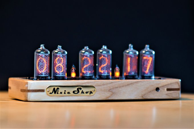 Nixie clock in a wooden enclosure